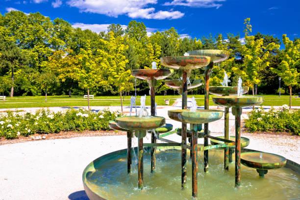 Tivoli park and fountain in Ljubljana, capital of Slovenia Tivoli park and fountain in Ljubljana, capital of Slovenia ljubljana stock pictures, royalty-free photos & images