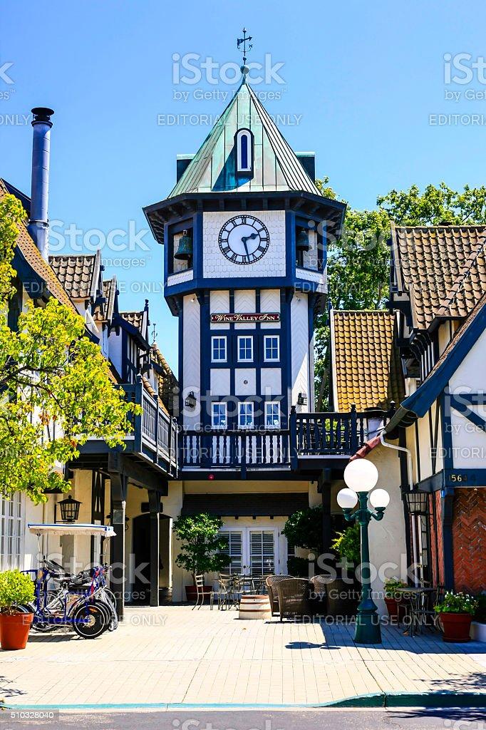 Tivoli Square clock tower in Solvang, CA stock photo