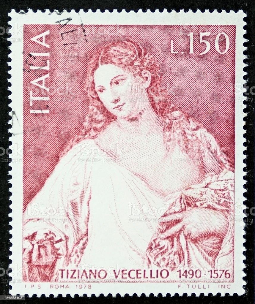 Tiziano Vecellio postage stamp stock photo