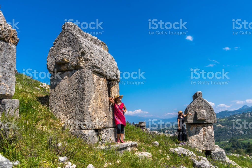 Tlos ancient city from Fethiye / Turkey. stock photo