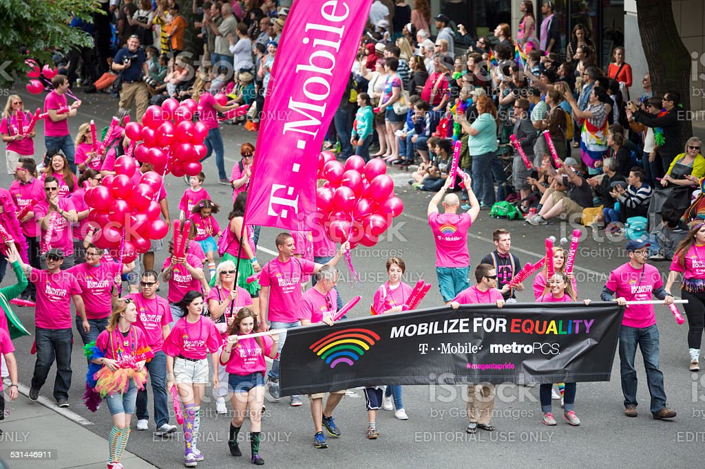 T-Mobile and Seattle Gay Pride Festival 40th Anniversary Celebration stock photo
