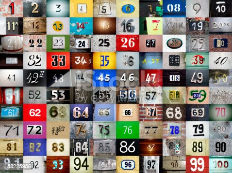 istock 1 to 100 made up of assorted photographed numbers 158225956