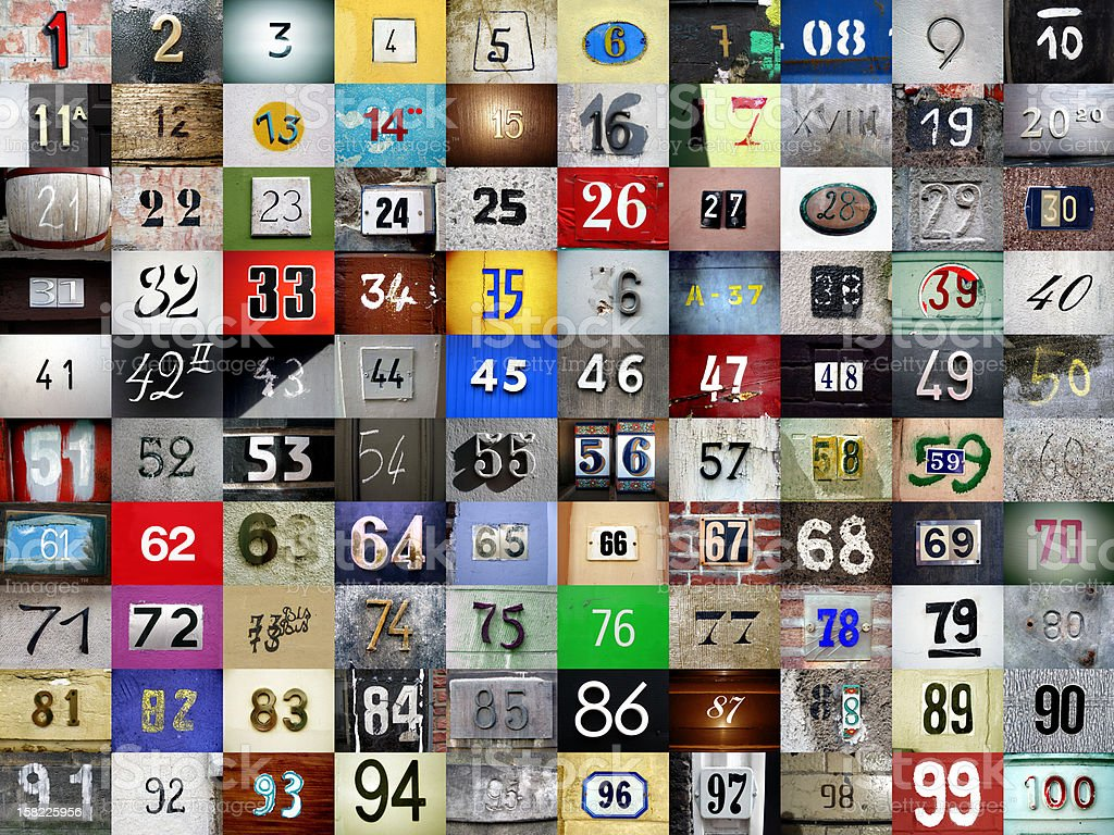 1 to 100 made up of assorted photographed numbers stock photo