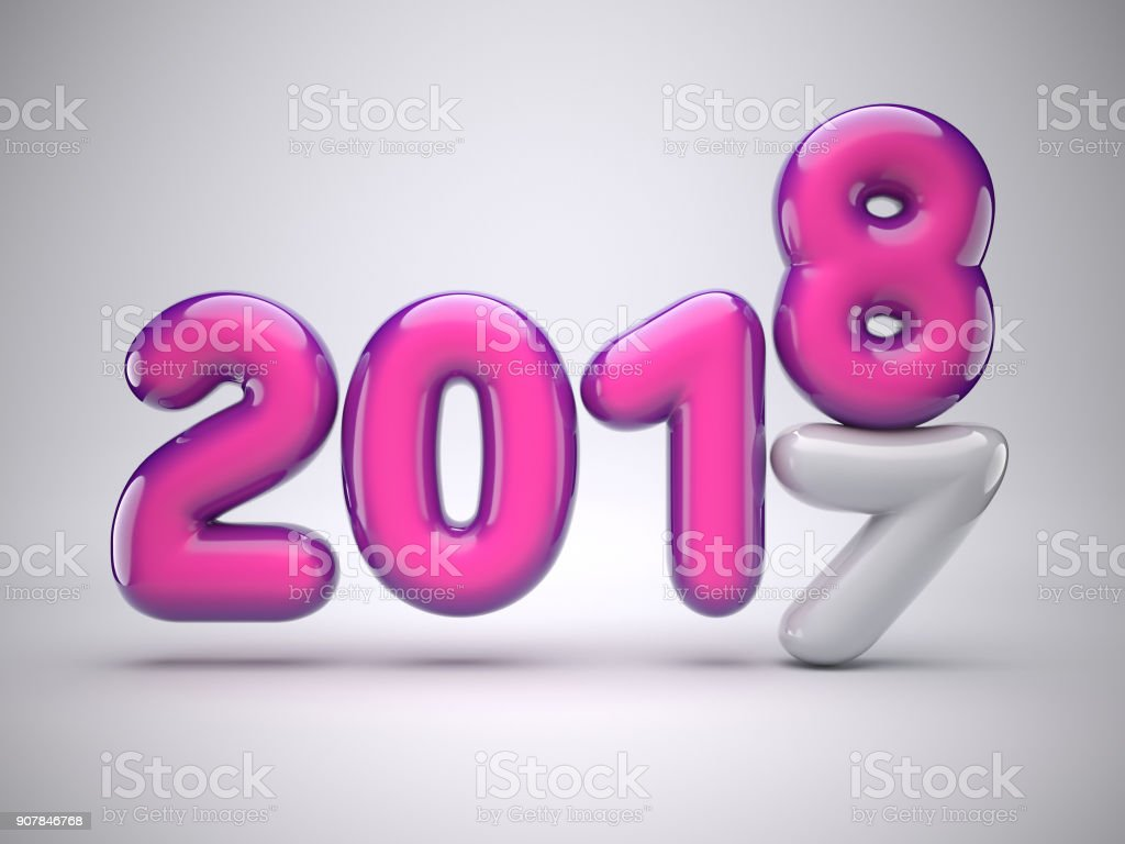 2017 to 2018 change, New Year concept, greeting card design, Happy New Year Banner with 2018 pink numbers on bright background, 3d illustration stock photo