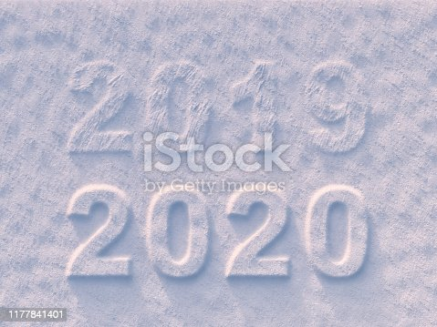 istock 2019 to 2020 New Year text on snow 1177841401