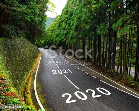 1081389658 istock photo 2020 to 2043 on highway and white marking lines in the forest 1194402605