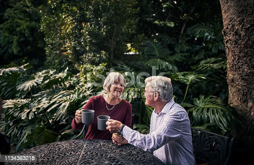 Cropped shot of an affectionate senior couple enjoying a cup of coffee in their backyard at home