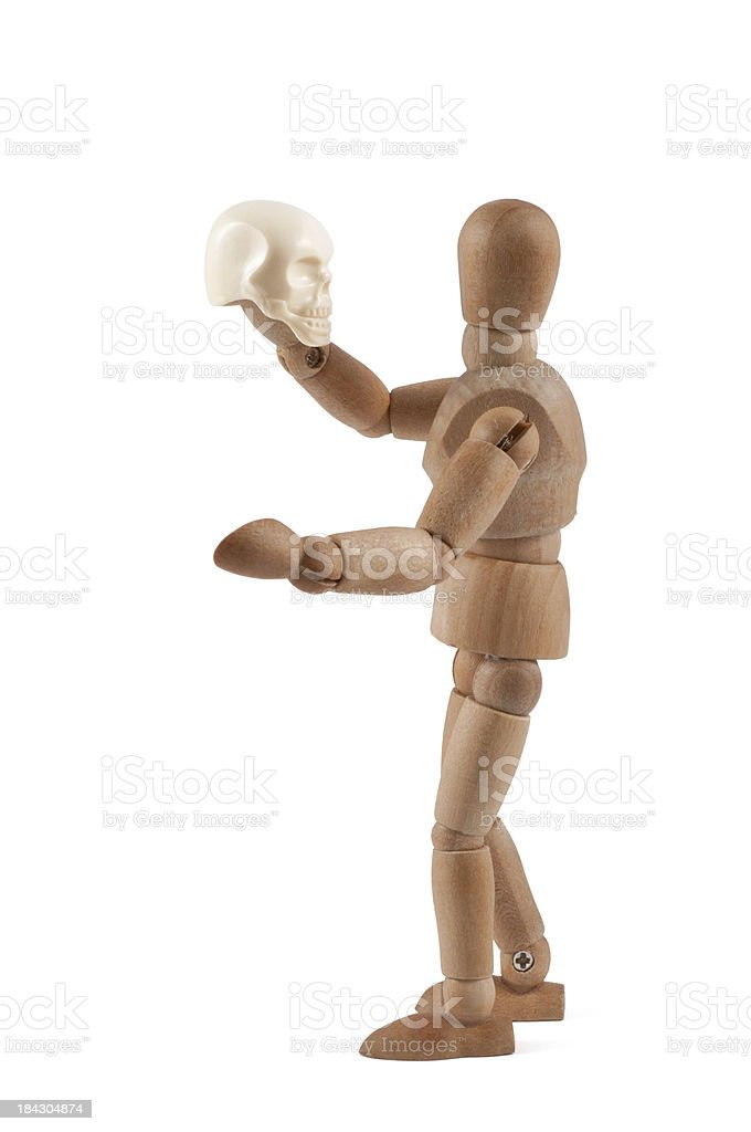 To be or not to.be - Wooden Mannequin as Hamlet stock photo