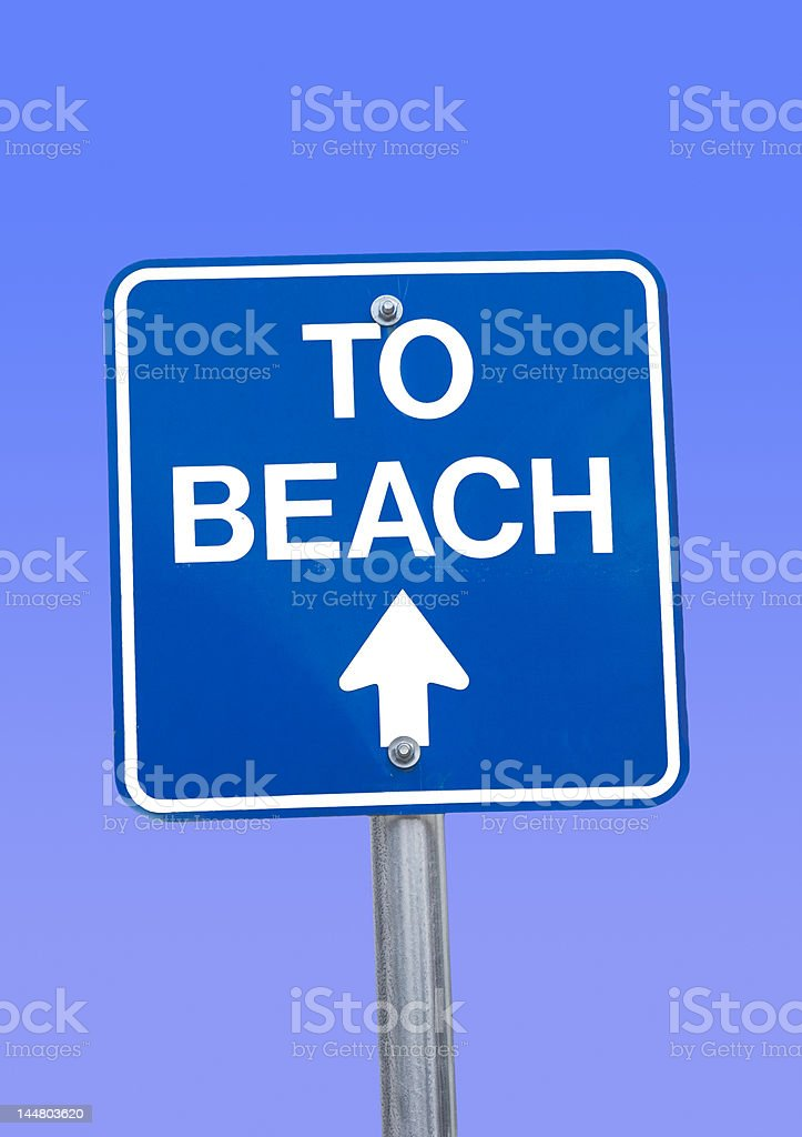 'to beach' signpost - rendered background royalty-free stock photo