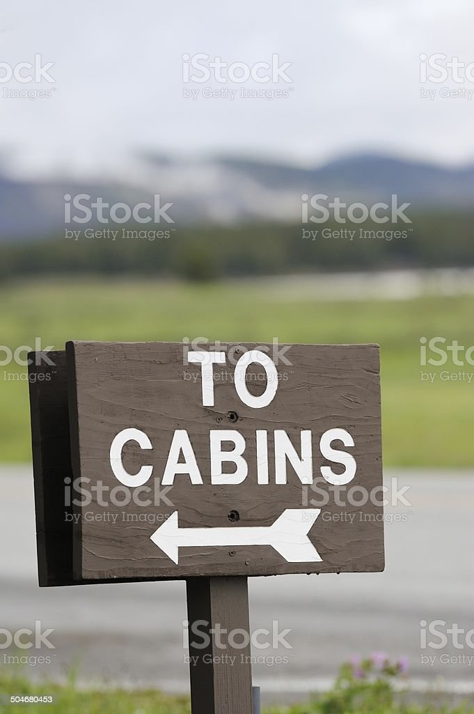 To cabins sign stock photo