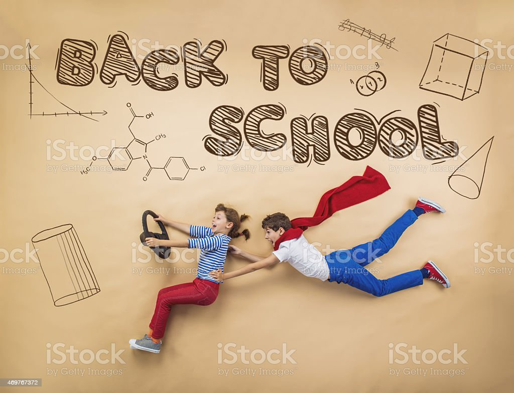 To children prepared to go back to school stock photo