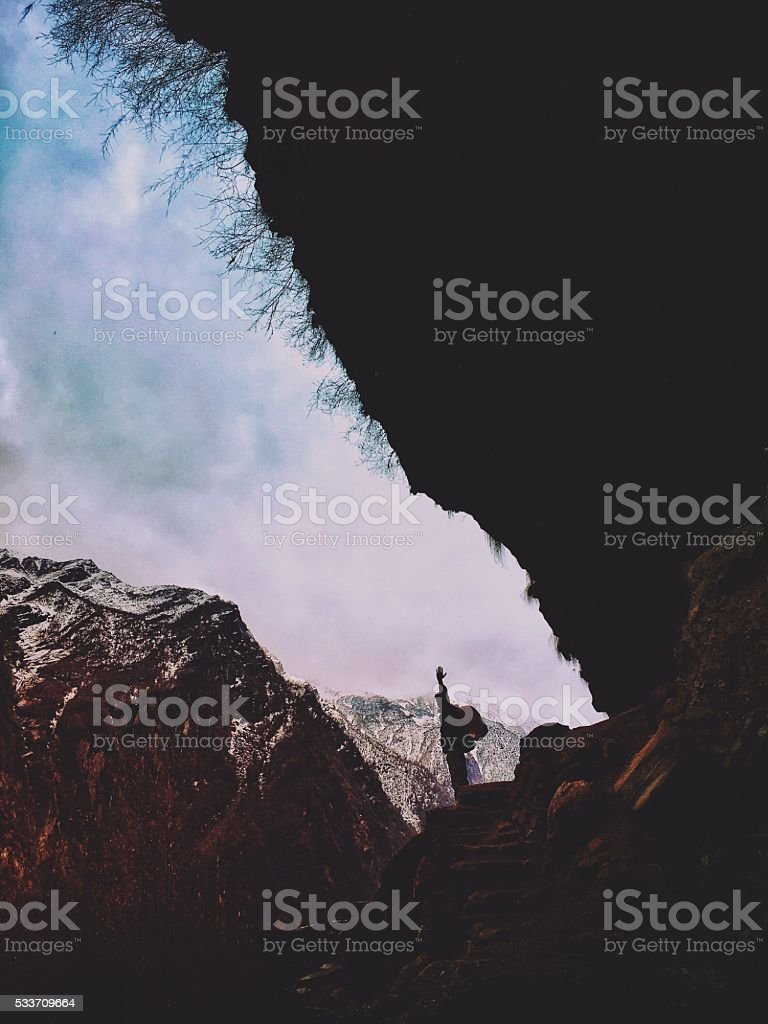 To conquer the mountain top stock photo