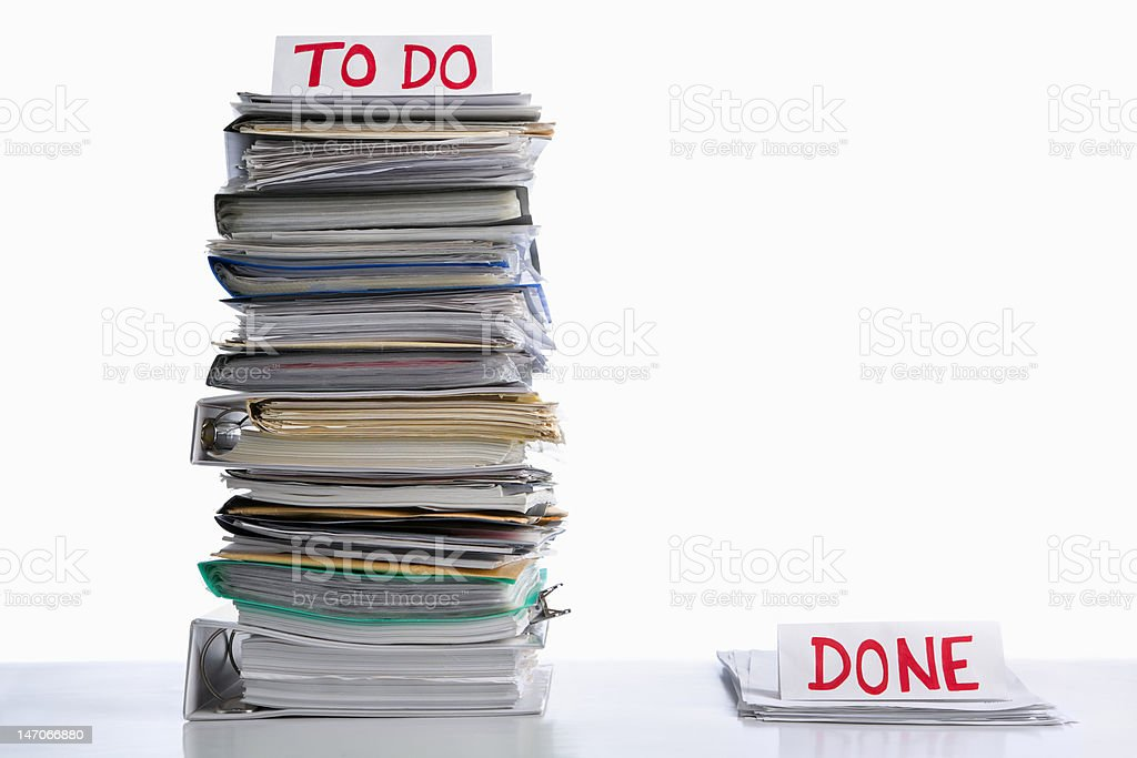 To do and done paperwork stock photo