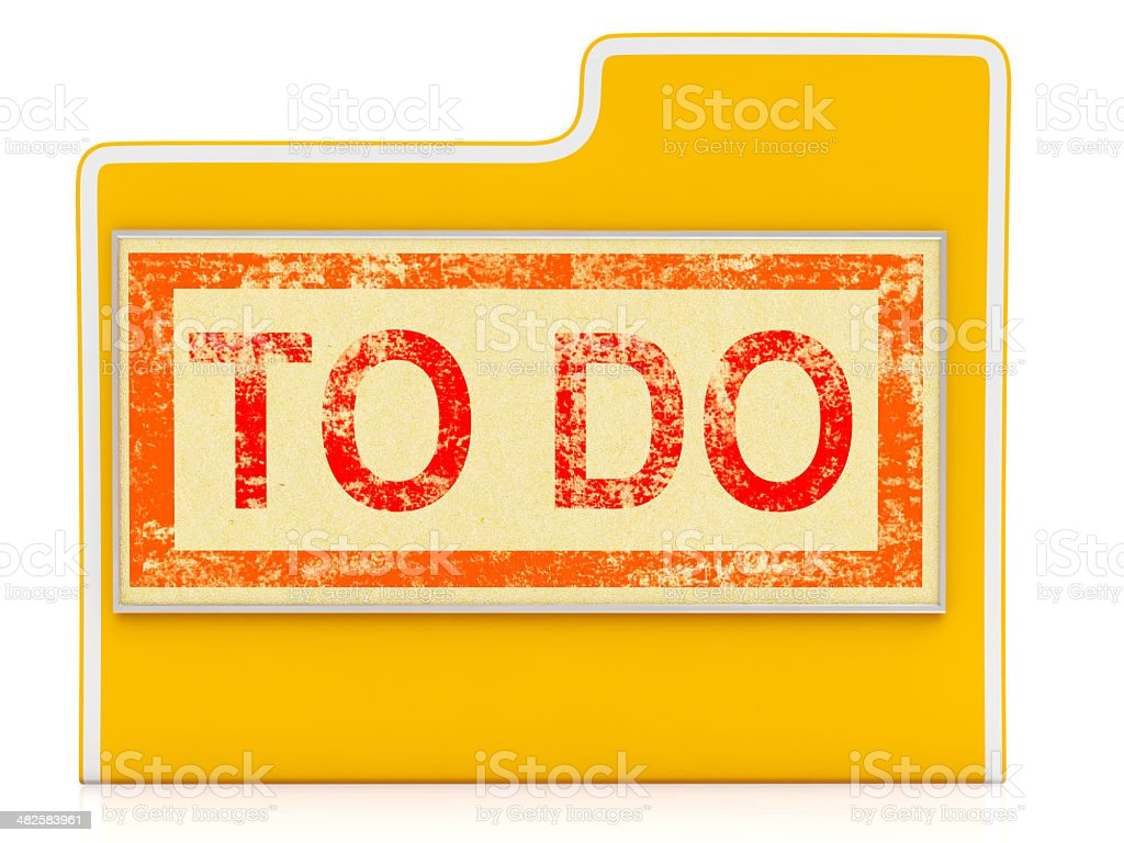 To Do File Shows Organizing And Planning Tasks stock photo
