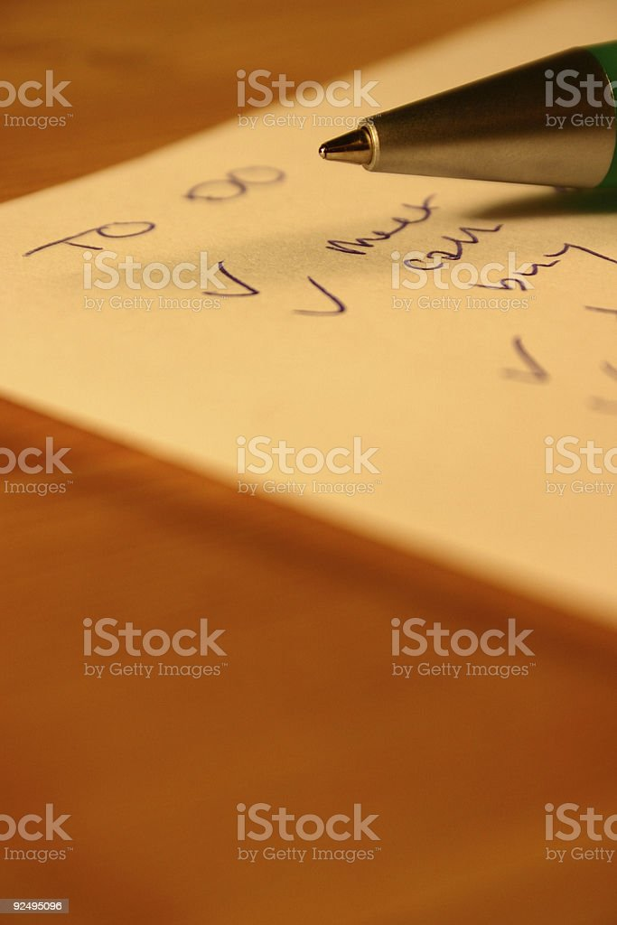 To do list and pen royalty-free stock photo