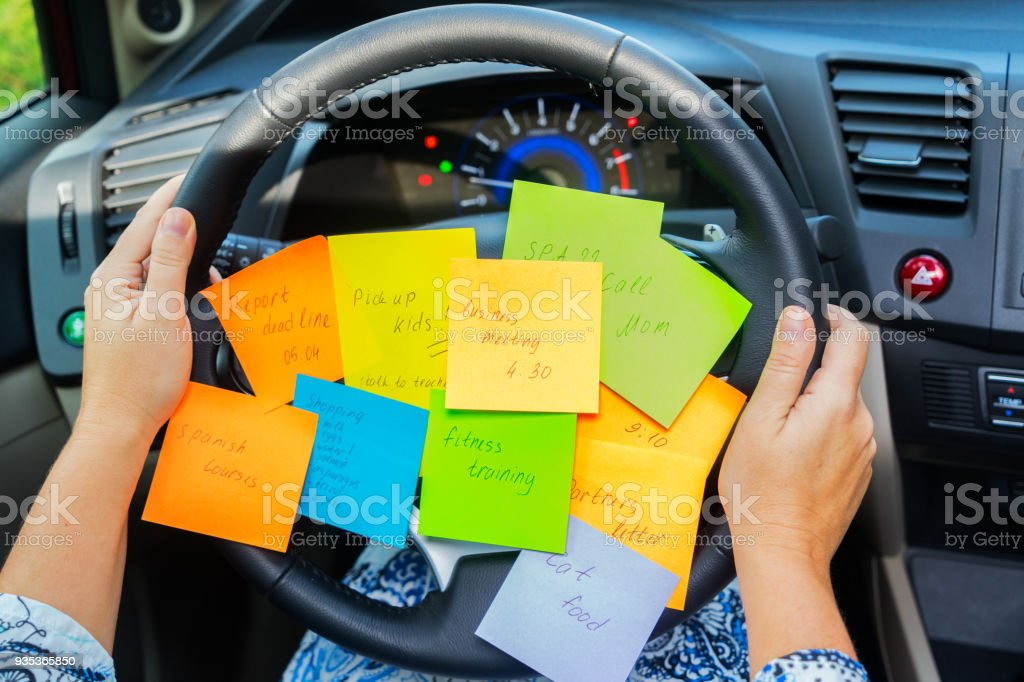 To do list in a car stock photo