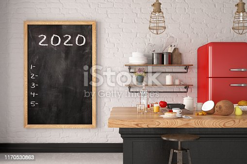 2020 To Do List on Black Board in Kitchen. 3D Render