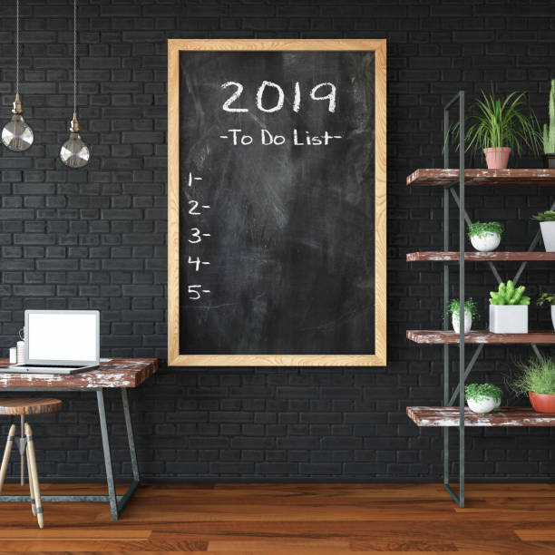 2019 To Do List on Black Board stock photo
