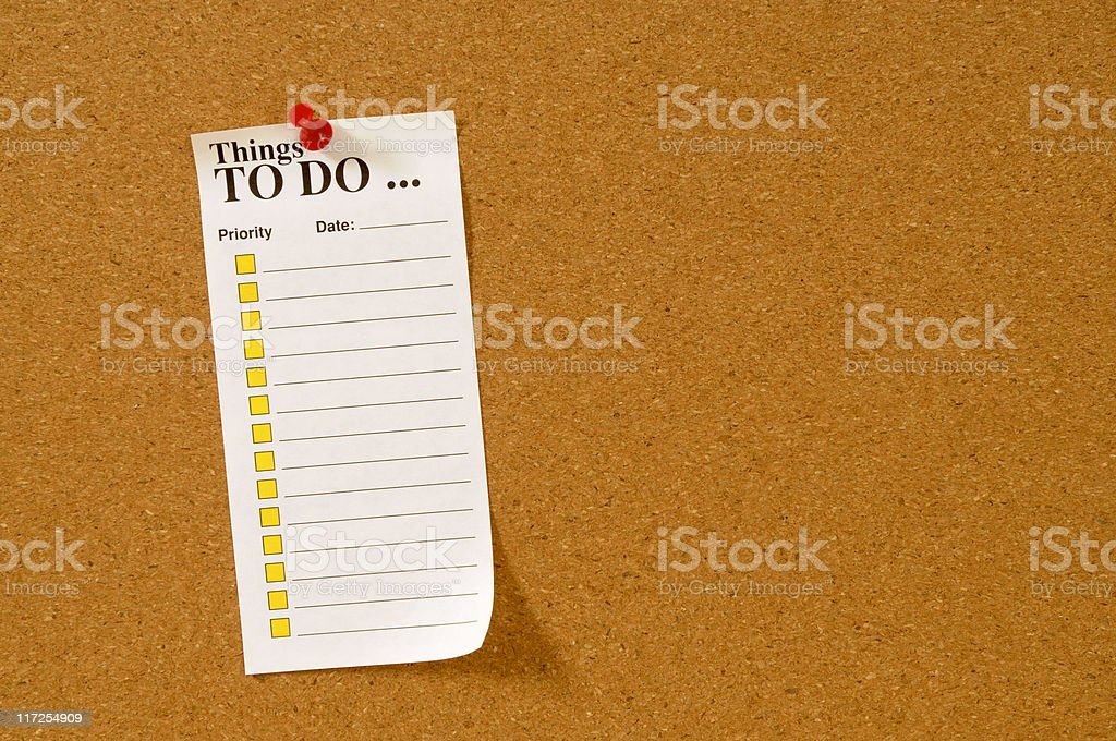 To do list on cork bulletin board royalty-free stock photo