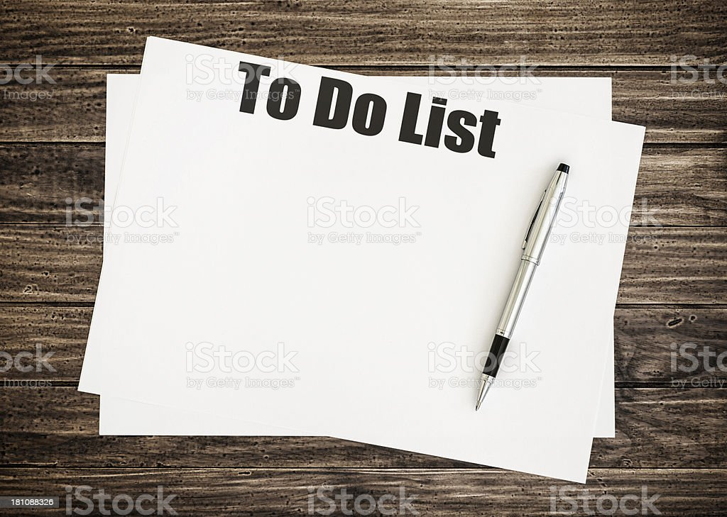 To do list on document royalty-free stock photo