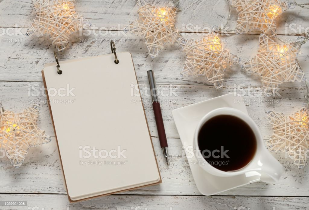 to do list on winter holidays. Shopping list cup of tea and luminous...