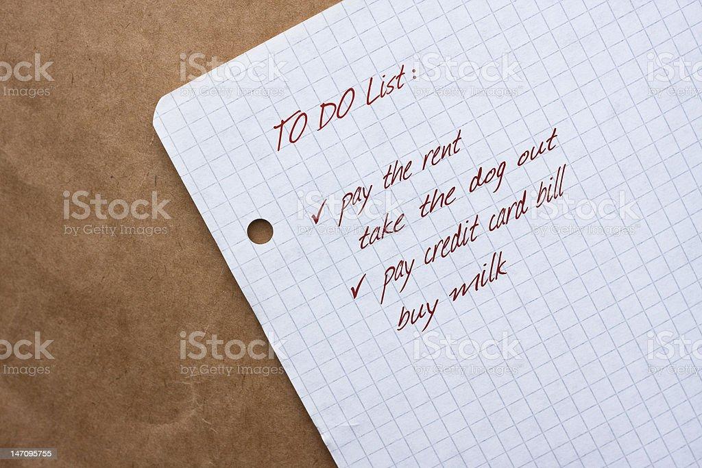 To Do List stock photo