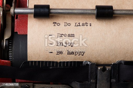 istock To do list - text message on the typewriter close-up 1160366705