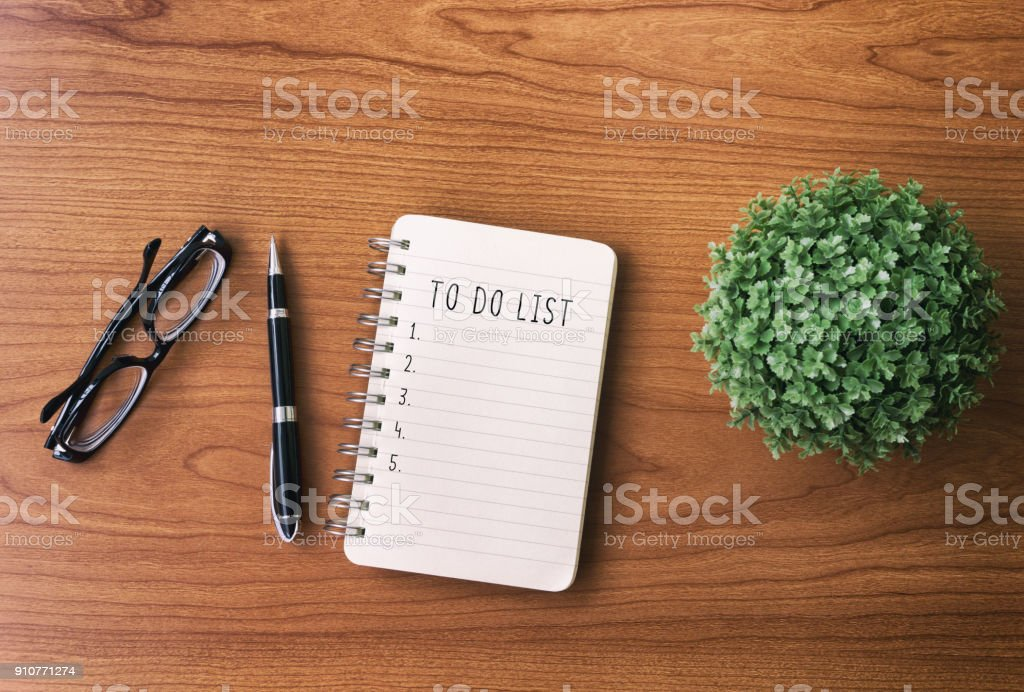 To Do List Text on Notepad stock photo