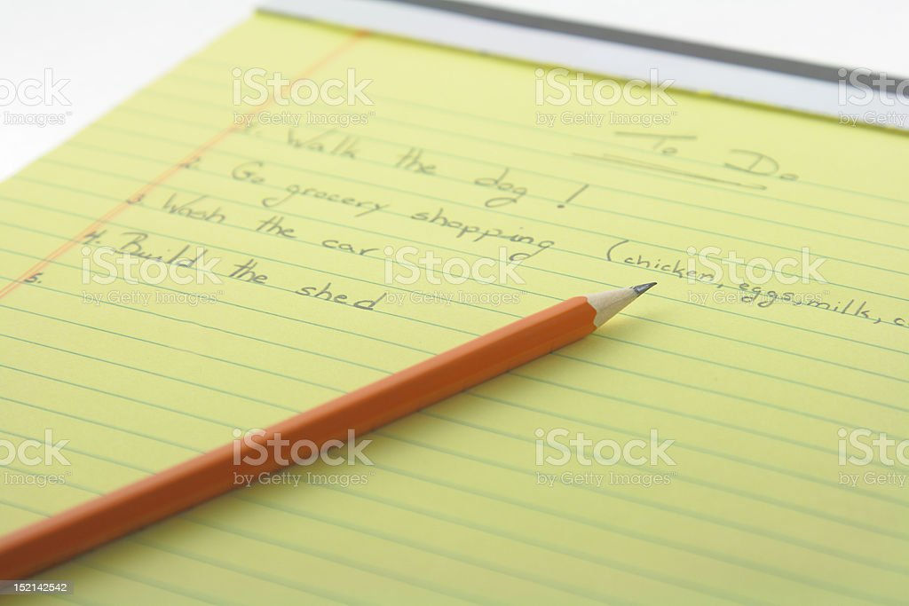 To Do list with pencil stock photo