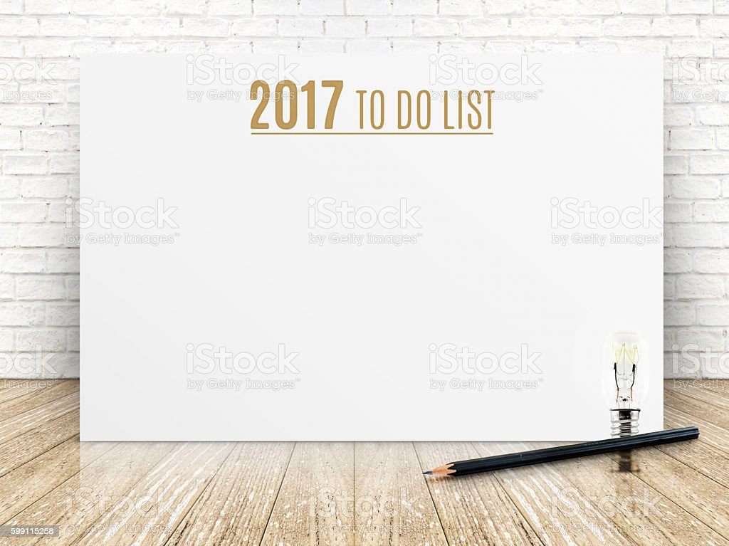 2017 To do list year on white poster with pencil stock photo