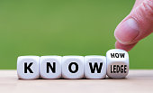"""istock To have know-how or to have knowledge. Hand turns a dice and changes the word  """"know-how"""" to """"knowledge"""". 1139665346"""