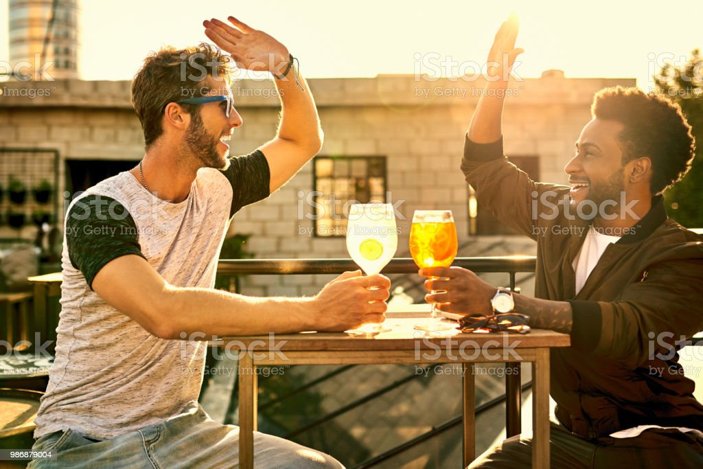 To having such a great bromance stock photo