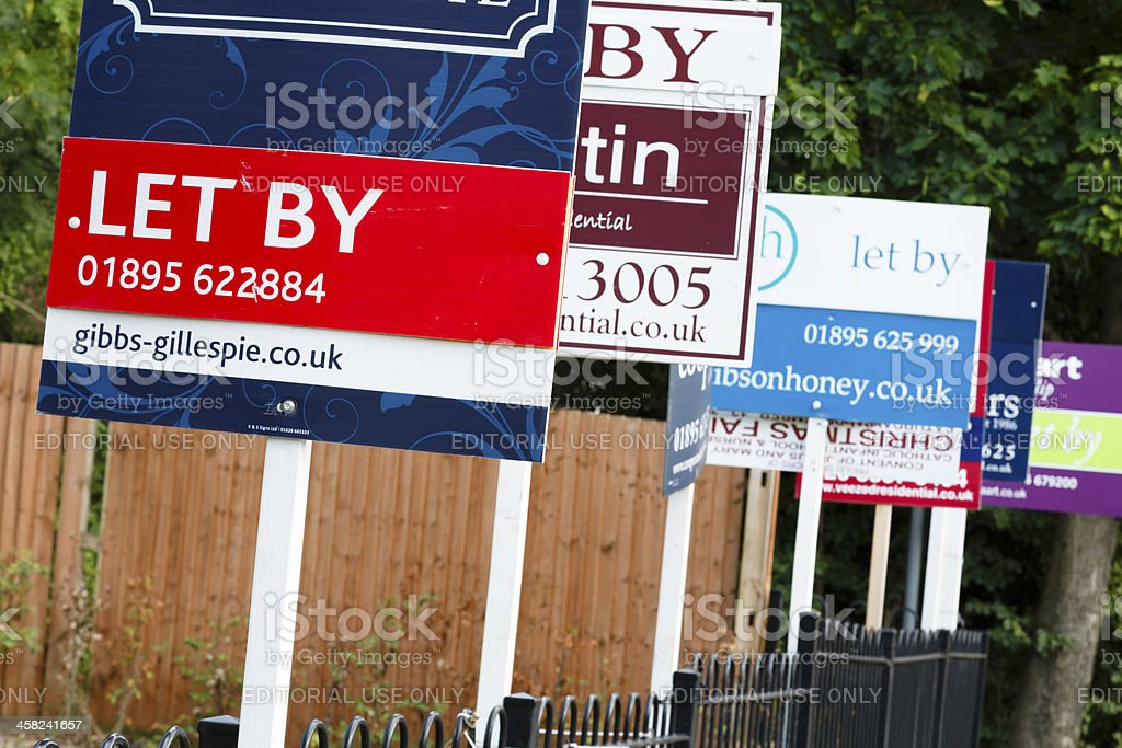 To let sign UK royalty-free stock photo