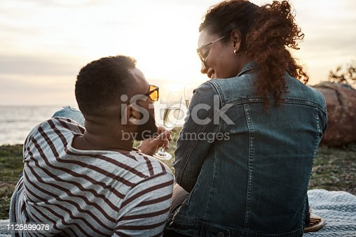 Shot of a young couple having champagne on a romantic picnic outdoors