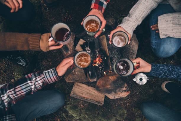 To our great journey! Close up top view of young people toasting each other while warming up near the campfire in the woods bonfire stock pictures, royalty-free photos & images