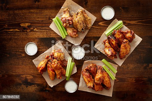 istock to pdown view of chicken wing party platter 507845232
