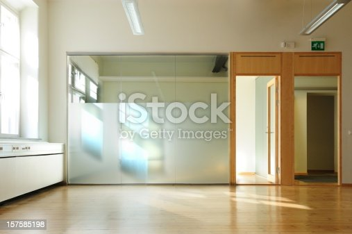 Copy space. Bright white glass wall.