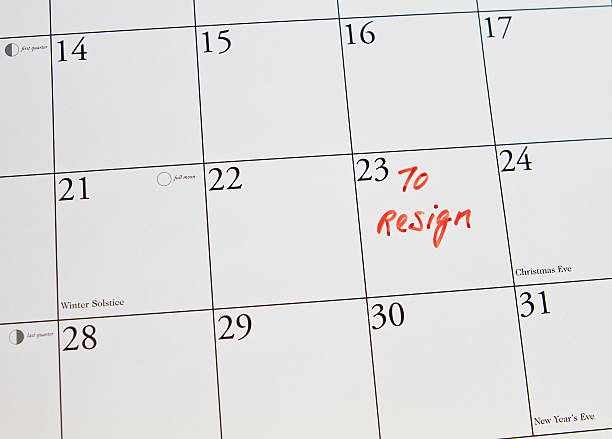 to resign from job put in calendar stock photo