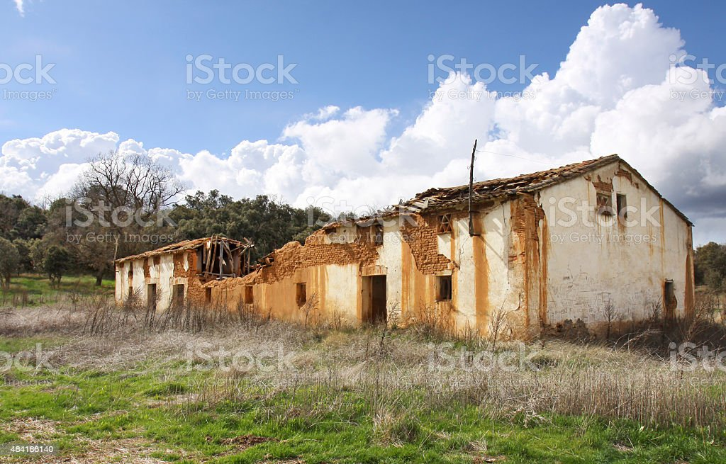 To ruin delapidated house in the province of Soria, Spain stock photo