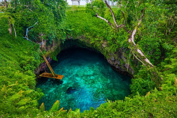 To Sua ocean trench - famous swimming hole, Upolu, Samoa, South Pacific To Sua ocean trench - famous swimming hole, Upolu island, Samoa, South Pacific oceania stock pictures, royalty-free photos & images