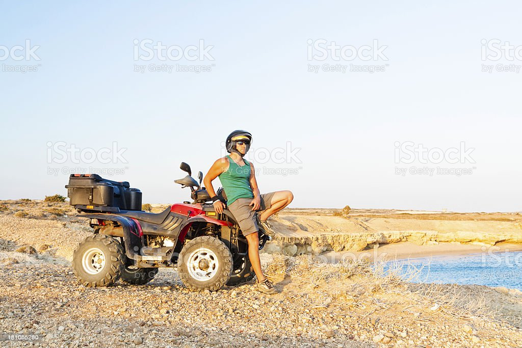 to the end by quad bike royalty-free stock photo