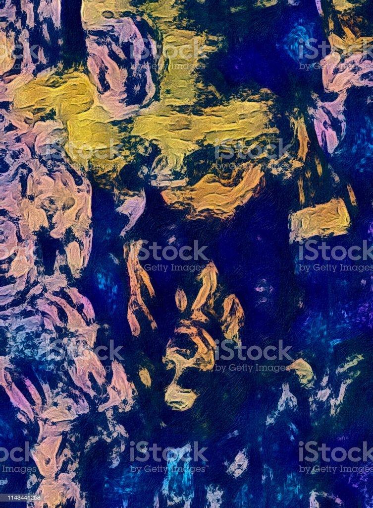 Digital entstandenes abstrakt-informellem Bild. Es geht hierbei um...