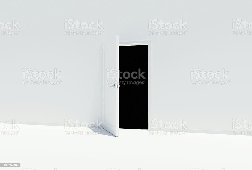 """To the Unknown """"White 3d render, door open to complete blackness.Browse through my other collections below."""" Black Color Stock Photo"""