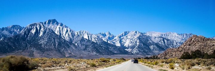 Mount Whitney view from Whitney Portal Road. Lone Pine, California, USA