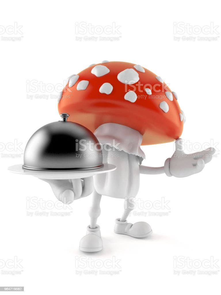 Toadstool character holding catering dome royalty-free stock photo