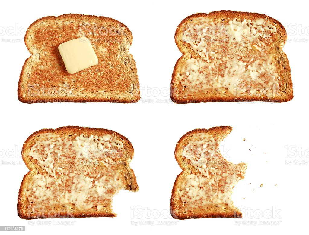 Toast and butter stock photo
