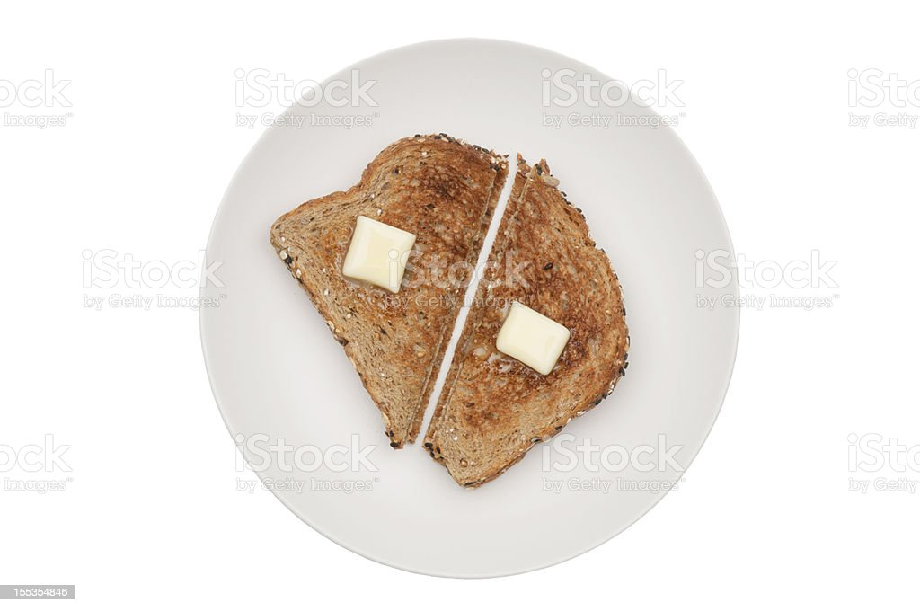 toast and butter with clipping path stock photo