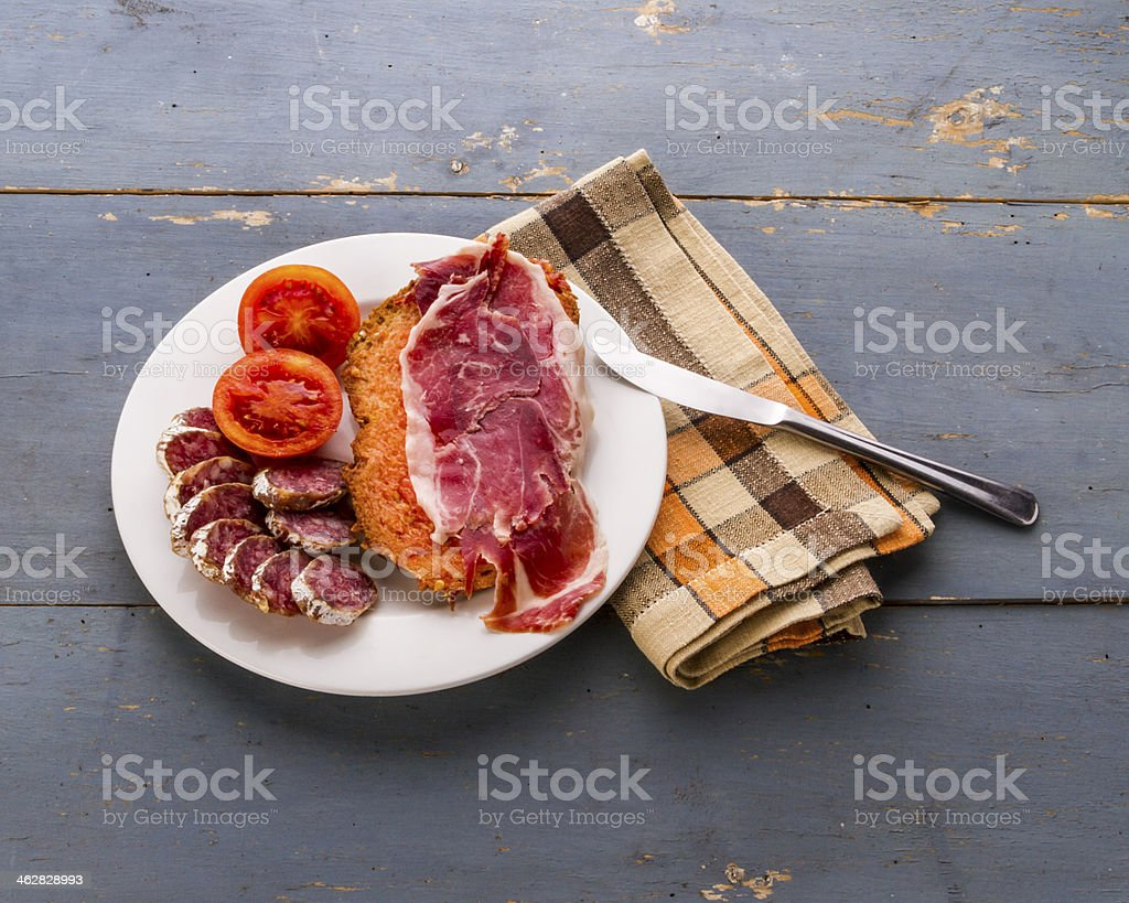 Toast and cured meats (I) stock photo
