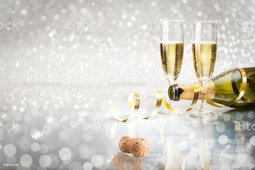 Toast Champagne New Year Silver Background Stock Photo & More ...