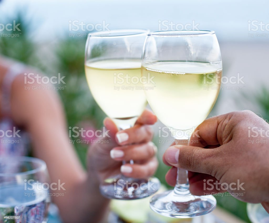 Toast for two to the sea. stock photo